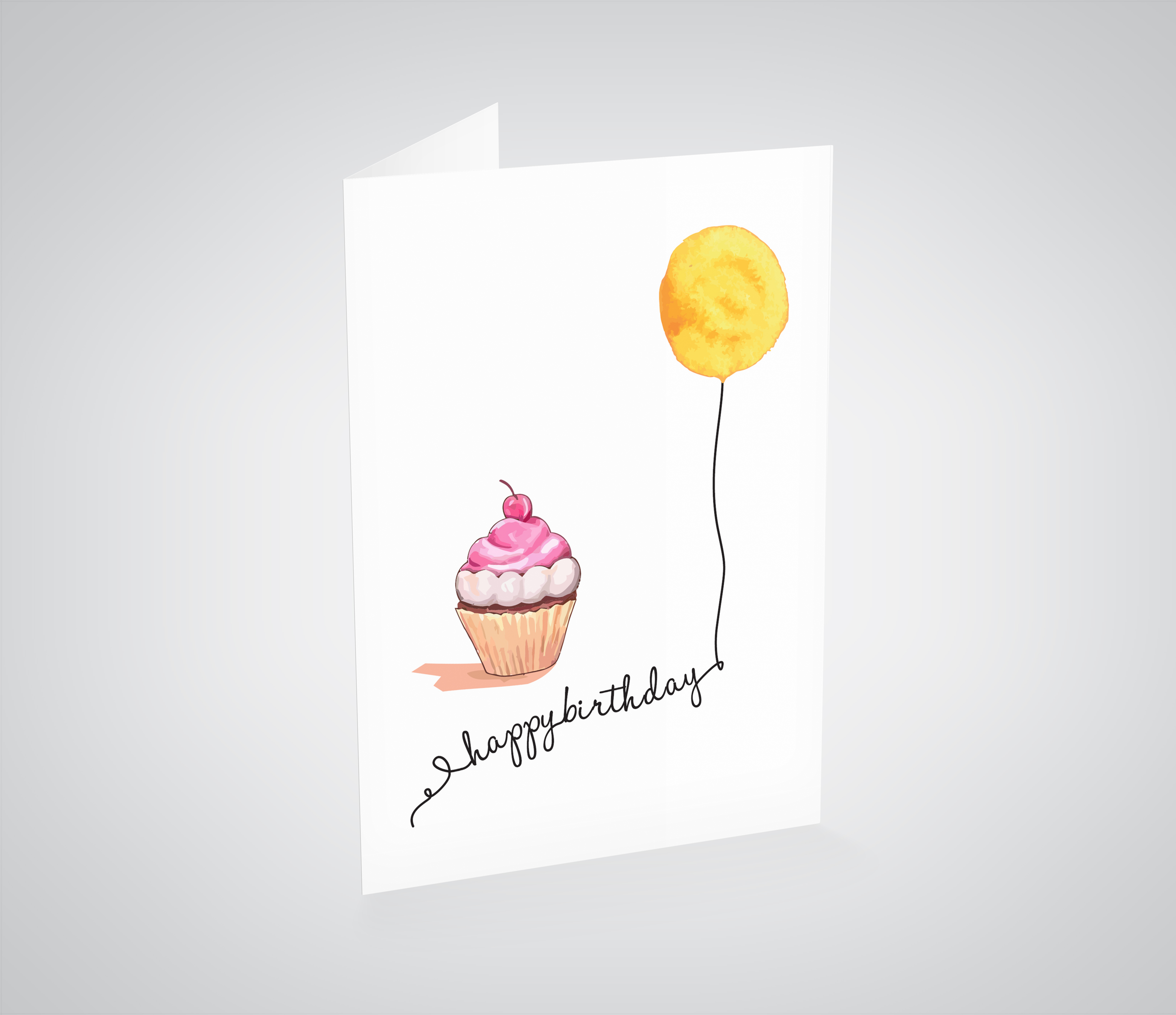 Brilliant Cupcake And Balloon Printable Birthday Card Inkling Creative Funny Birthday Cards Online Overcheapnameinfo